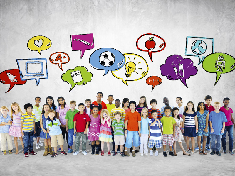 Large Group of Children With Speech Bubbles